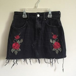 PACSUN Black Distressed Embroidered Mini Skirt